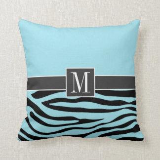 Chic Blizzard Blue Zebra Animal Print Pillows