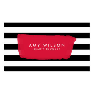 Chic Blogger Social Media Black and White Stripes Business Card