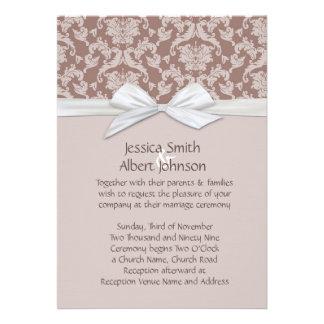 Chic Blossom Brown Damask Wedding Invite