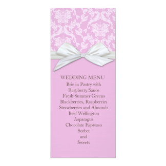 Chic Blossom Pink Damask Wedding Menu Personalized Announcement Cards