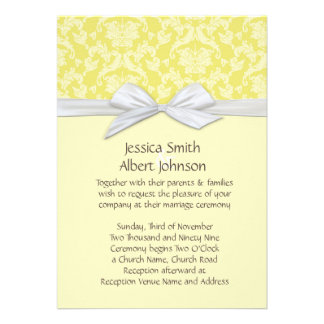 Chic Blossom Yellow Damask Wedding Invite