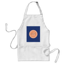 Chic blue abstract geometric pattern monogram adult apron