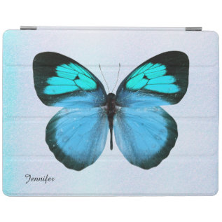 Chic Blue And Black Butterfly Custom Ipad Cover at Zazzle