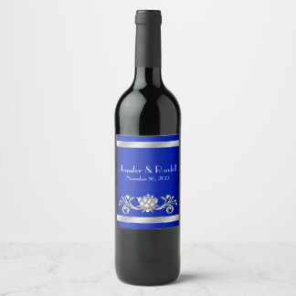 Chic Blue and Silver Wedding Wine Label