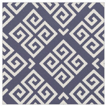 Chic blue and white greek key geometric patterns fabric