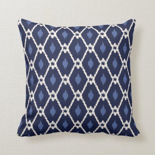 Chic Blue And White Ikat Diamond Pattern Throw Pillow