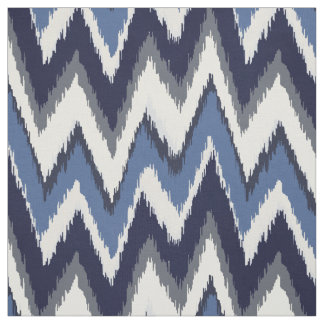 Chic blue and white ikat tribal chevron pattern fabric
