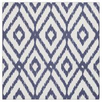 Chic blue and white ikat tribal diamond pattern fabric