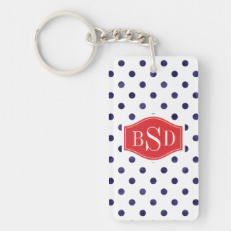 Chic blue and white polka dots patterns monogram keychain