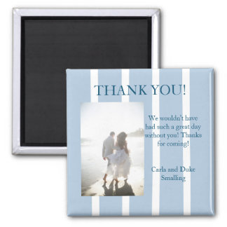 Chic Blue and White Stripe Thank You Favor Magnet