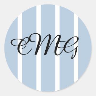 Chic Blue and White Stripe Wedding Favor Sticker