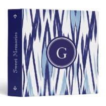 Chic blue and white watercolor ikat pattern binder