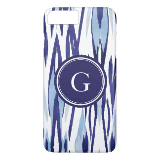 Chic blue and white watercolor ikat pattern iPhone 8 plus/7 plus case