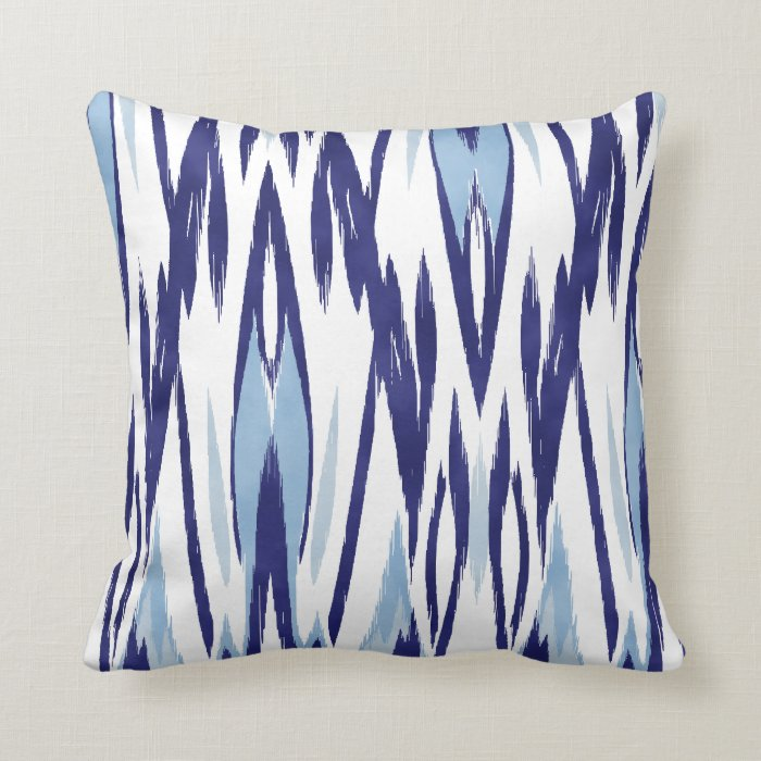 Chic blue and white watercolor ikat pattern throw pillow Zazzle