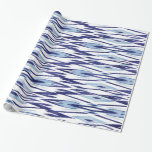 Chic blue and white watercolor ikat pattern gift wrapping paper