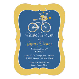 Chic Blue and Yellow Bridal Shower Invitation