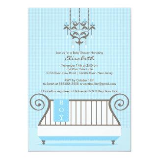Chic Blue Baby Crib Boy Baby Shower Invitation