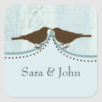 Chic blue bird cage, love birds envelope seal