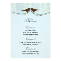 Chic blue bird cage, love birds Menu Cards