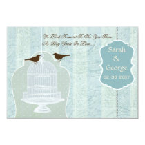 Chic blue bird cage, love birds RSVP 3.5 x 5 Card