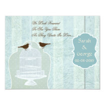 Chic blue bird cage, love birds RSVP Card
