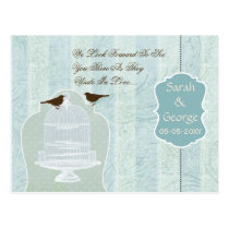 Chic blue bird cage, love birds RSVP Postcard