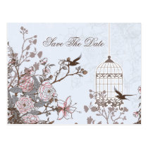 Chic blue bird cage, love birds save the dates postcard