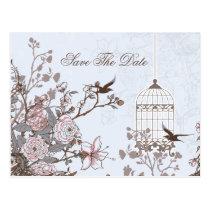Chic blue bird cage, love birds save the dates postcard