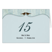 Chic blue bird cage, love birds table numbers card