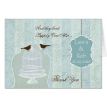 Chic blue bird cage, love birds Thank You Card