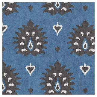 Chic blue black and white damask ikat pattern fabric