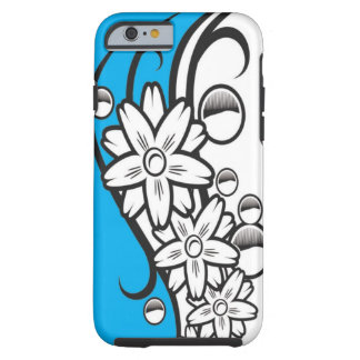 Chic Blue Black And White Floral Pattern Tough iPhone 6 Case