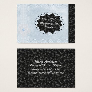 Professional Business Chic Blue & Black Wedding Pro Business Card