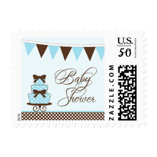 Chic blue + brown boys baby shower stamps