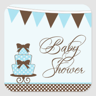 Chic blue + brown boys baby shower stickers