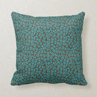 Chic Blue & Brown Leopard Print Pattern Pillow