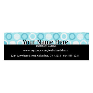 Chic Blue Circles Profile Cards Double-Sided Mini Business Cards (Pack Of 20)