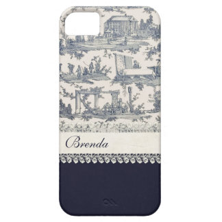 Chic Blue & Cream French Toiles Custom iPhone SE/5/5s Case
