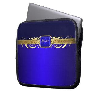 Chic Blue Faux Gold Scroll Two Tone Laptop Sleeve