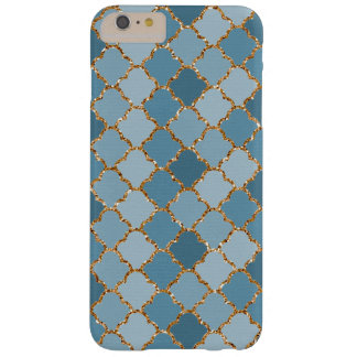Chic Blue Faux Shiny Gold Glitter Mosaic Pattern Barely There iPhone 6 Plus Case