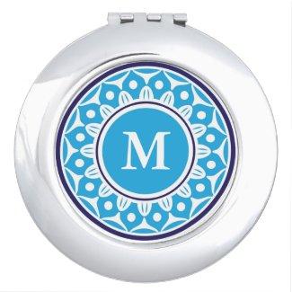Chic Blue Floral Pattern Monogrammed Vanity Mirror