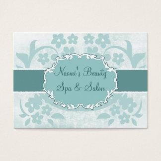 chic blue floral swirls salon chubby business card