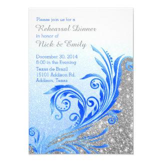 Chic Blue Flourish Wedding Rehearsal Dinner Card