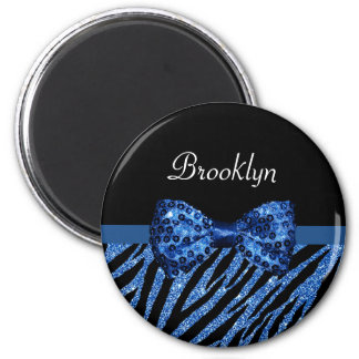 Chic Blue Glitter Zebra Print Luxe Bow With Name 2 Inch Round Magnet