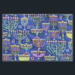 "Chic Blue Gold Menorah Star of David Hanukkah Tissue Paper<br><div class=""desc"">This holiday tissue paper feature a chic pattern of gold,  green and purple menorah and gold Star of David on a blue background. Designed by world renowned artist Tim Coffey.</div>"