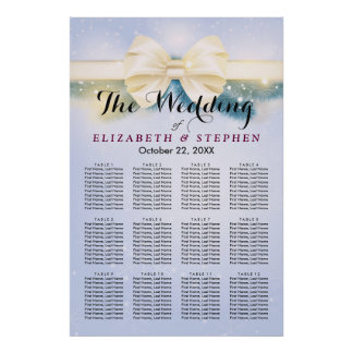 Chic Blue Gold Ribbon Pines Wedding Seating Chart