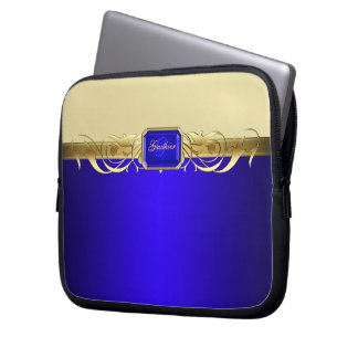 Chic Blue Gold Scroll Trendy Laptop Sleeve