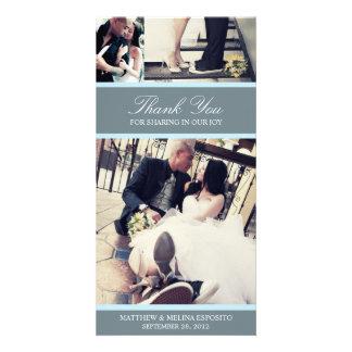 CHIC BLUE GRATITUDE | WEDDING THANK YOU CARD PHOTO CARD