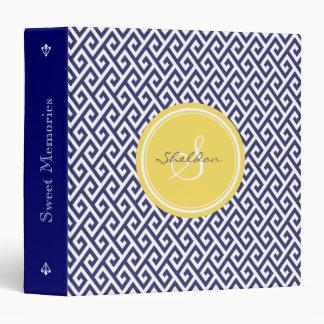 Chic blue greek key geometric patterns monogram binder