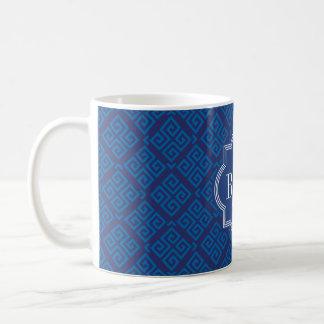 Chic blue greek key geometric patterns monogram coffee mug